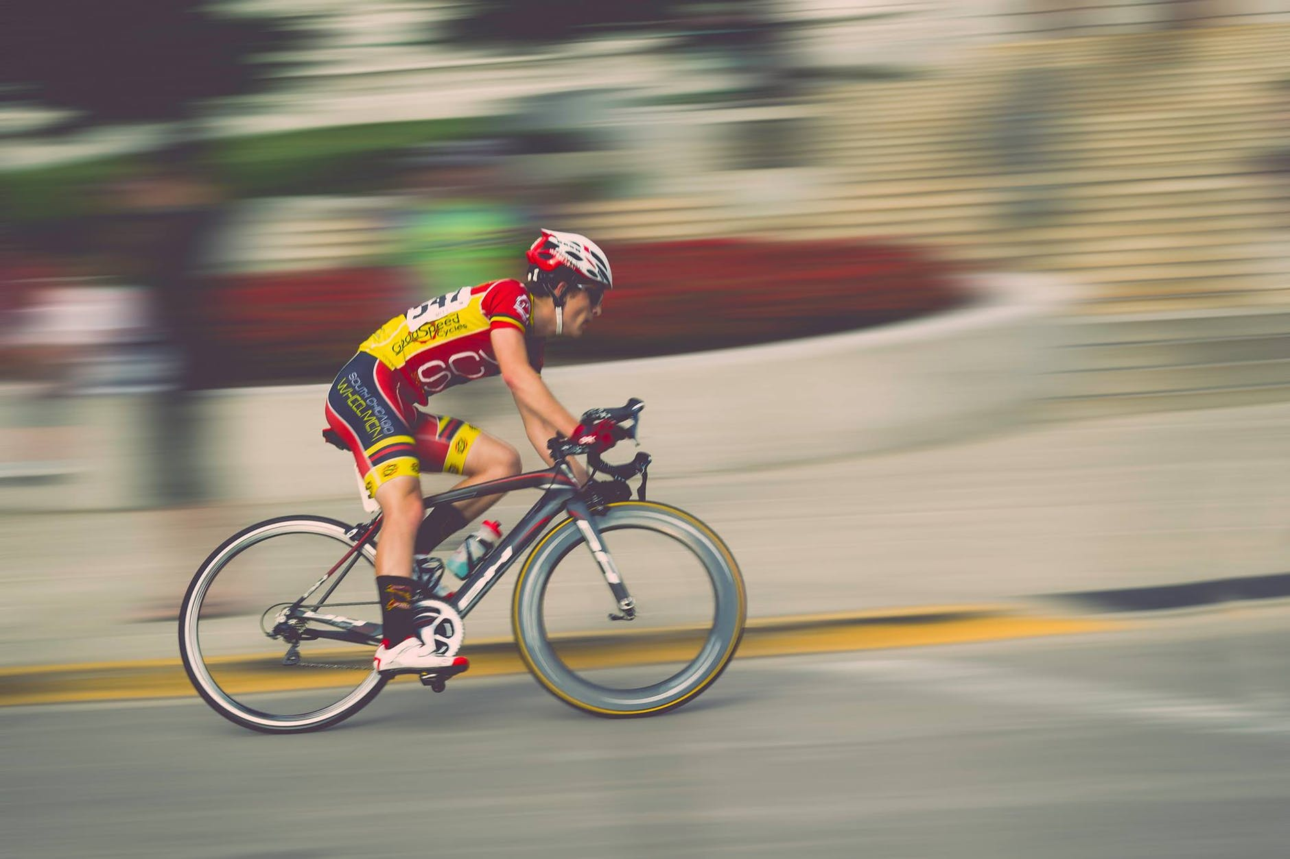 blur bicycle speed bicyclist